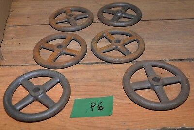 "6 cast iron wheels collectible 6"" diameter steam punk industrial repurpose lot"
