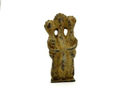Ancient Syro Hittite Bronze Icon With Three Embracing Worshippers R12