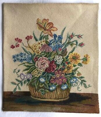VINTAGE Antique Beautiful Needlepoint Large Floral Tapestry Picture/Cushion?