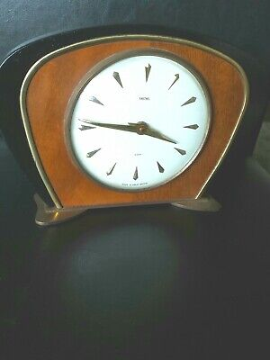"Smiths Art Deco 8 Day Mantel Clock  made from wood with Brass Feet  9"" x 6"" H"