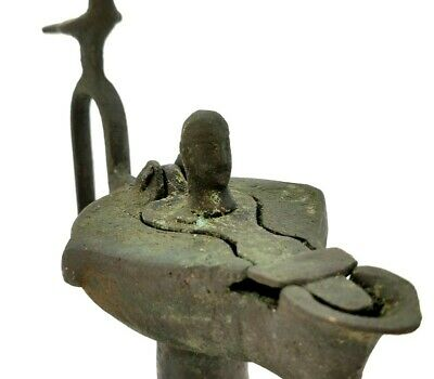 Medieval Islamic Seljuk Bronze Oil Lamp With Human Head Lid And Bird Handle  R27