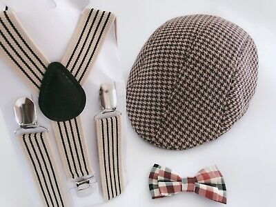 Kid Boy Party wedding Beige Brown Stripe Brace Suspender bowtie beret Cap set