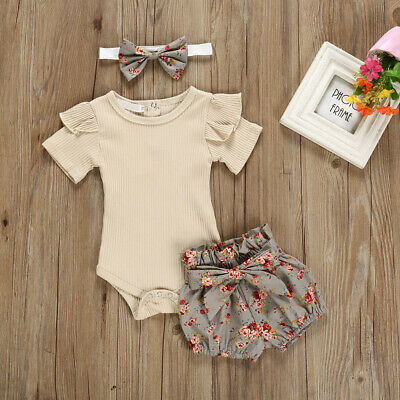 3PCS Newborn Baby Girl Outfits Clothes Tops Romper + Floral Shorts Pants Set
