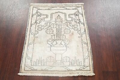 Vintage MUTED Pictorial Kashmar Area Rug Distressed Hand-Knotted Wool Carpet 2x3