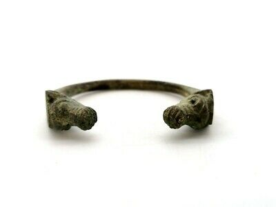 Ancient Roman Bronze Bracelet With Deer Head Terminals  - R41