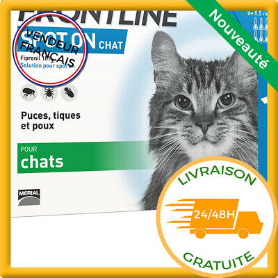 Anti Puce Tiques Pour Chat 6 Pipettes Protection 4 Semaines Antiparasitaire
