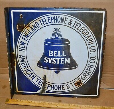"Vintage New England Telephone Double-Sided Porcelain Sign AT&T 16"" x 16"""