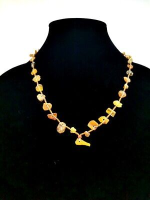 Ancient Roman Amber Beaded Glass Necklace R64