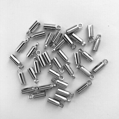 100 Pcs White K plated Leather cord connector bell rope cap end Crimps findings