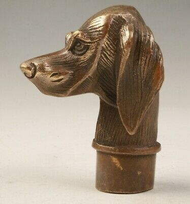 Unique China Bronze Cane Walking Stick Head Dog Sculpture Old Collec