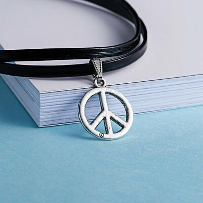 Womens Leather Statement Choker Collar Peace Charm Pendant Necklace Jewellery