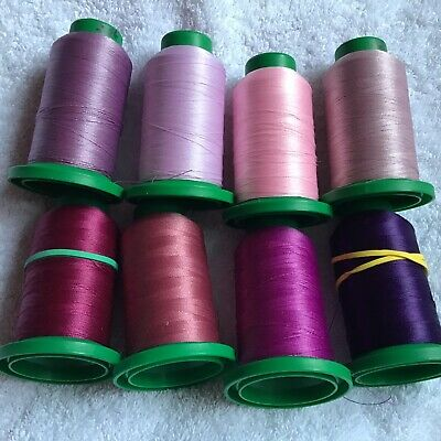 8 Reels Of Machine Embroidery Threads Pinks And Purples