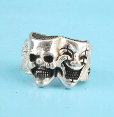 China Solid Silver Hand-Carved Devil Exclusive Custom Ring High-End Collection