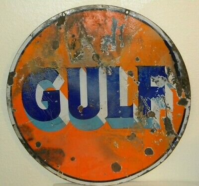 "Vintage Gulf Double Sided 30"" Porcelain Metal Sign  - oil gas station man cave"