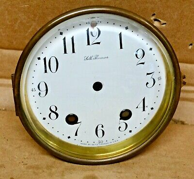 Antique 8 Day Time Strike Seth Thomas Mantle Clock Porcelain Dial & Bezel Assemb