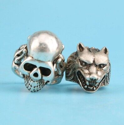 2 Tibet Silver Hand-Carved Skull Wolf Head Ring Exclusive Custom Collec Old