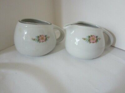 Vintage Hall's Superior Kitchenware Rose White #656 Creamer and Sugar Pottery/Ce