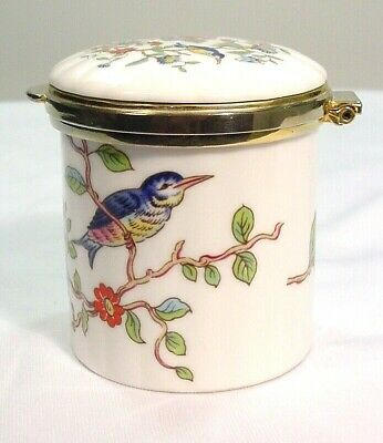 "Aynsley Pembroke England Bone China Birds Flowers Round 2.25"" Hinged Trinket Box"