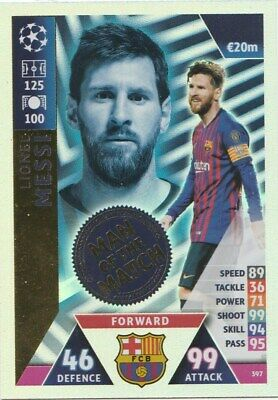 Match Attax Champions League 2018/19 Man Of The Match Messi Mint Condition