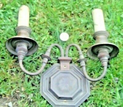 Antique Vintage Victorian Brass Metal 2 Bulb Electric Wall Sconce Lamp Light