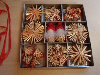Scandinavian Swedish Norwegian Danish Straw Christmas Ornaments 36 pc box