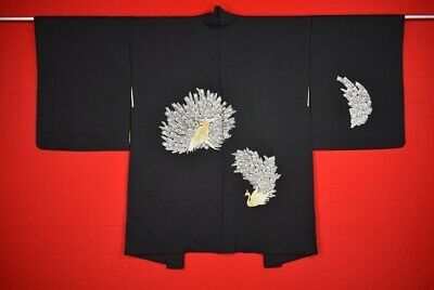 Vintage Japanese Kimono Silk Antique Black HAORI Kusakizome Embroidery/M8S2/580