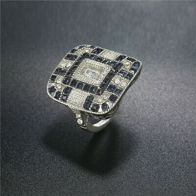 Retro Jewelry Art Deco Style Silver Cubic Zirconia&Sapphire Cocktail Ring Size 5