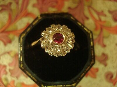 Beautiful Antique Art Deco: Ruby Gemstone & Sparkling Crystals 9CT Gold Ring