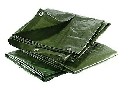 10 Sizes Heavy Duty Tarpaulin Waterproof Cover Tarp Camping Sheet Green 90gsm