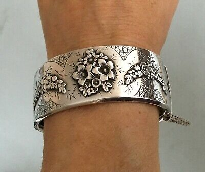 1884 VICTORIAN ANTIQUE STERLING SILVER BANGLE cuff bracelet hinged chunky large