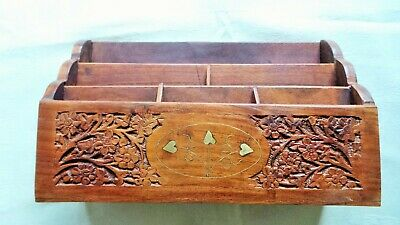 Large Wooden And Brass Carved Letter Rack (Lot 2)