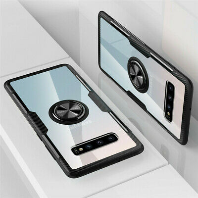 For Samsung Galaxy S10 Plus S10e Clear Hybrid Armor Ring Stand Magnet Case Cover