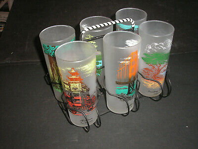 Vtg. Calif. Scenes Frosted Drinking Glasses/Tumblers Mid-Century w/ Caddy