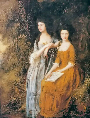 Oil painting thomas gainsborough - Linley sisters beautiful young  girls beauty