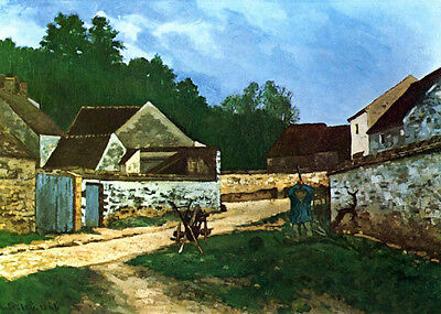 Stunning Oil painting Alfred Sisley - Village route in Marlotte village view