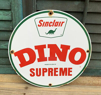 Vintage Dino Supreme Sinclair Porcelain Gas Service Station Pump Plate Sign 57'