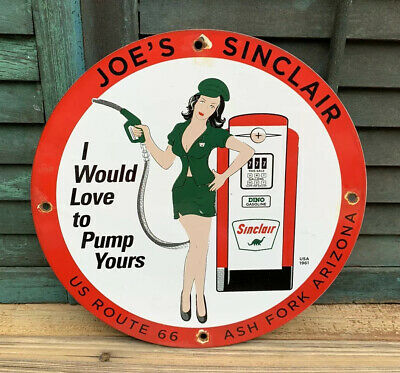 Vintage Joe's Sinclair Gasoline Sign Porcelain Gas Pump Plate Service Station