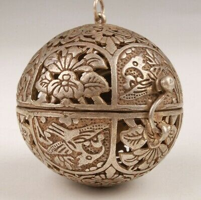 Unique Tibetan Silver Incense Pendant Hollowed-Out Flower Bird Handicraft Old