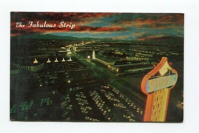 Postcard The Fabulous Strip Las Vegas  Dunes Hotel sign Caesars Palace Fountains