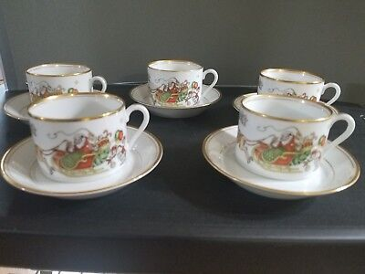 Vintage Fitz And Floyd St. Nicholas Cup And Saucer Set Of 5