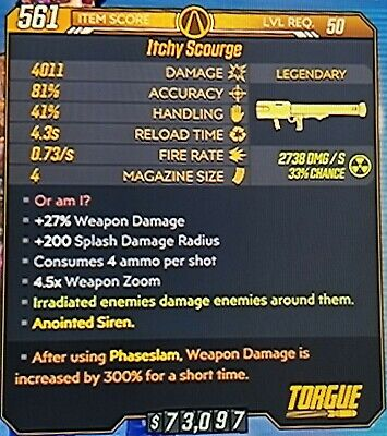 """Borderlands 3  300% Anointed Siren """"ITCHY SCOURGE"""" level 50 XBOX ONE"""