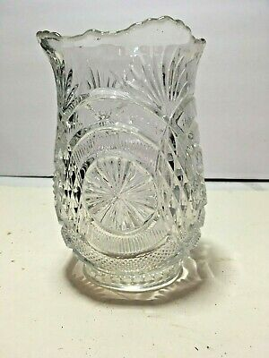Vintage Eapg Early American Pressed Glass Celery Spooner Vase Pineapple Pattern