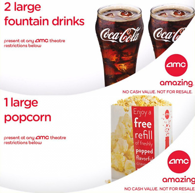 AMC Movie Theater 2 Large Fountain Drinks coke + 1 Large Popcorn **emailed**