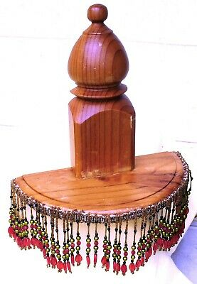 Vintage Carved wooden Shelf with beaded decoration
