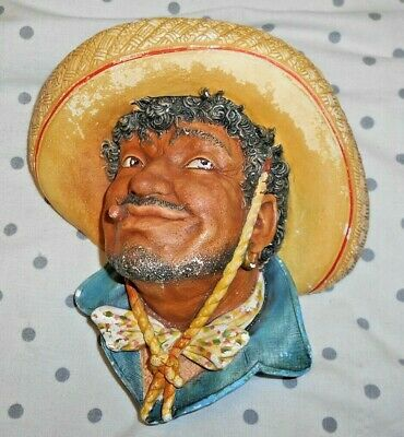 1960 Bossons England PANCHO Chalkware head Sculpture Wall plaque