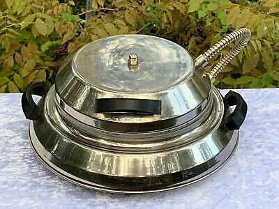 Antique Art Deco Retro Metelec Flying Saucer Chrome Bakelite Waffle Iron Maker