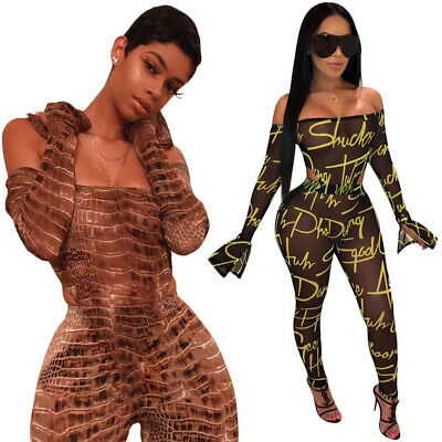 New Stylish Women's Long Sleeves Off Shoulder Print Bodycon Club Long Jumpsuit