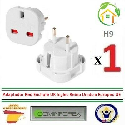 Adaptador Red Enchufe UK Ingles Reino Unido a Europeo UE Schuko Universal H9