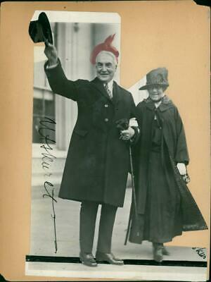 Vintage photograph of Collage President Warren G. Harding with wife