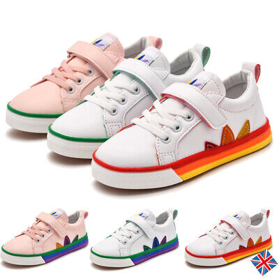 Kids Child Walking Sneakers Trainers Girls Flats Faux Leather Skate School Shoes